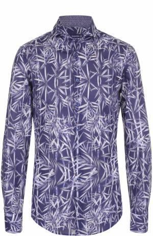 Хлопковая рубашка с принтом Jacques Britt. Цвет: синий