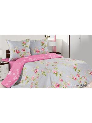 Постельное белье Розовый букет ECOTEX. Цвет: розовый, серый