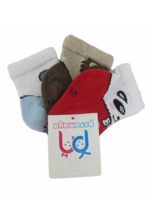 Носки детские, 3 пары PERA MAYA. Цвет: белый, коричневый, красный