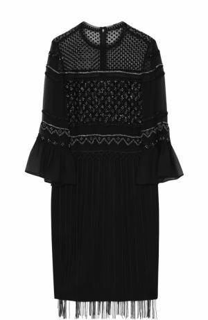 Шелковое платье с вышивкой бисером и бахромой Elie Tahari. Цвет: черный
