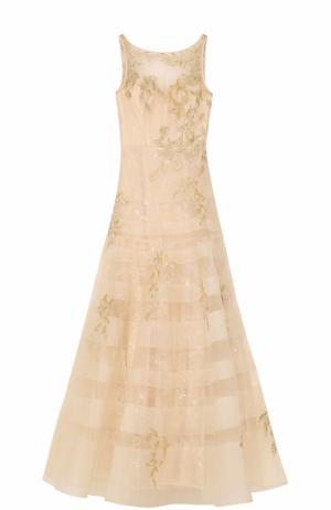 Приталенное платье-макси с вышивкой Basix Black Label. Цвет: бежевый