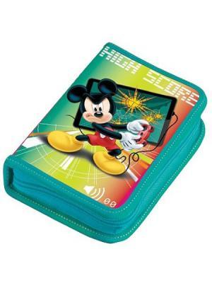 Пенал 1 отделение средний Disney Микки Маус с наполнением. Цвет: черный