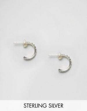 Kingsley Ryan Серебряные серьги-кольца со стразами. Цвет: серебряный