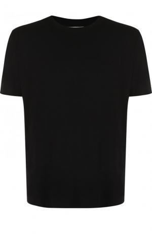 Хлопковая футболка с принтом Saint Laurent. Цвет: черный