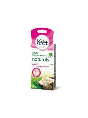 Восковые полоски Naturals с маслом ши для чувствительных участков тела лицо 20 шт VEET. Цвет: фиолетовый