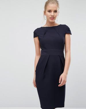 Closet London Платье-футляр миди с короткими рукавами и завязкой сзади. Цвет: темно-синий