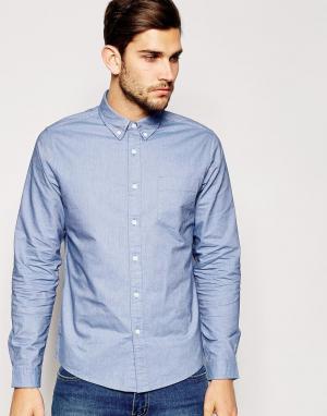 ASOS Голубая оксфордская рубашка классического кроя. Цвет: синий