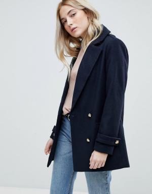 New Look Пальто-бушлат с золотистыми пуговицами. Цвет: синий