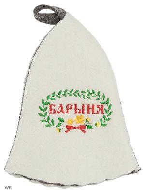 Шапка для бани с вышивкой в косметичке Барыня Метиз. Цвет: белый, серый