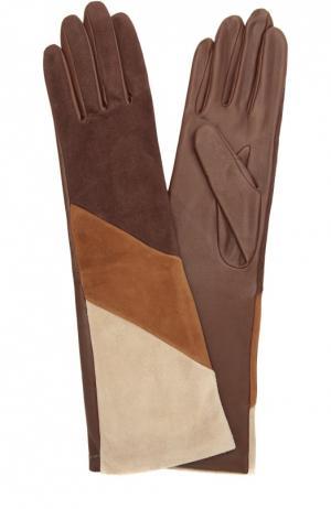 Удлиненные кожаные перчатки с отделкой из замши Agnelle. Цвет: коричневый