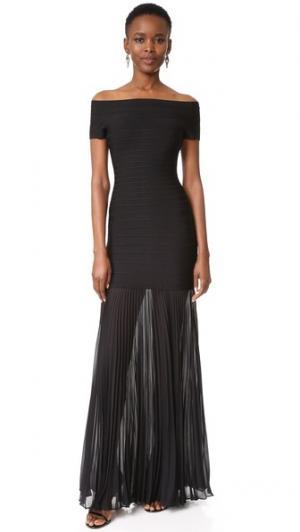 Вечернее платье Breanna с открытыми плечами Herve Leger. Цвет: голубой