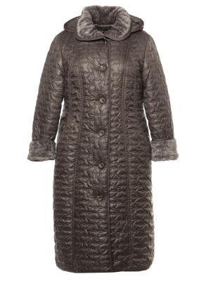 Пальто AMALIA COLLECTION. Цвет: серо-коричневый