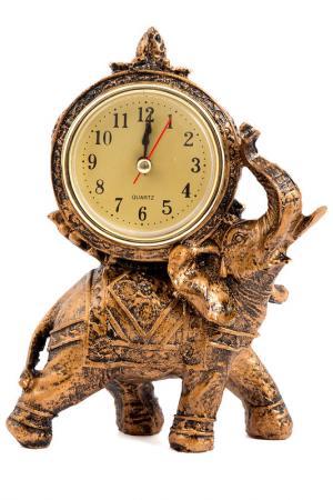 Часы настольные Слон 17x11 Русские подарки. Цвет: бронзовый, желтый
