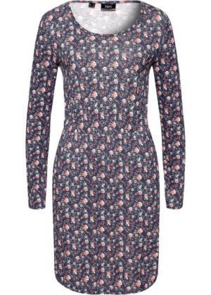 Платье с длинным рукавом (с рисунком) bonprix. Цвет: с рисунком