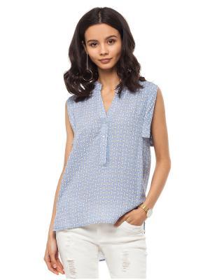 Блузка VILATTE. Цвет: голубой, светло-серый