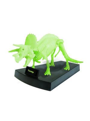 Сборная модель светящаяся Скелет Трицератопса Geoworld. Цвет: бежевый, голубой, желтый, зеленый, коричневый, светло-бежевый, темно-бежевый