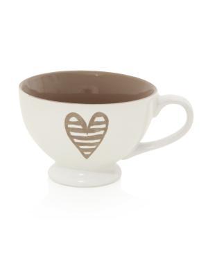Керамическая чашка для завтрака Сердцебиение Brandani. Цвет: белый