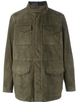 Куртка с накладными карманами Canali. Цвет: зелёный