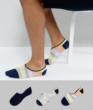 Happy Socks Набор из 3 пар подследников для кроссовок. Цвет: мульти