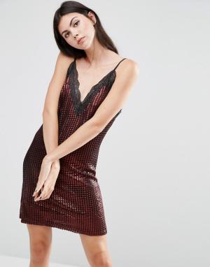 House of Holland Платье-комбинация мини цвета металлик Chainmail. Цвет: красный