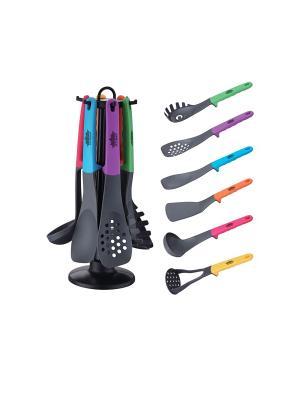 Набор кухонных инструментов 7 шт., антипригарное покрытие Peterhof. Цвет: черный