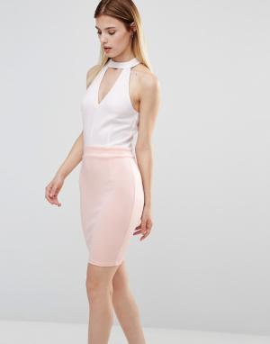 AX Paris Платье с чокером. Цвет: белый