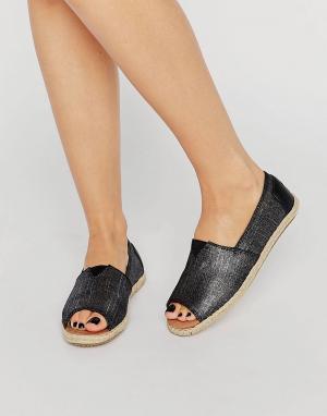 Toms Черные эспадрильи с эффектом металлик и открытым носком. Цвет: черный