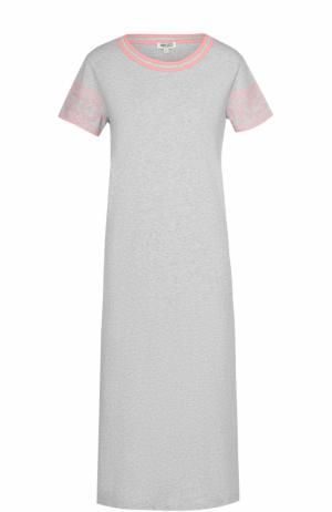 Хлопковое платье-футболка прямого кроя Kenzo. Цвет: серый