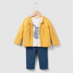 Комплект: жилет, футболка и джинсы 1 мес-3 лет La Redoute Collections. Цвет: экрю/желтый
