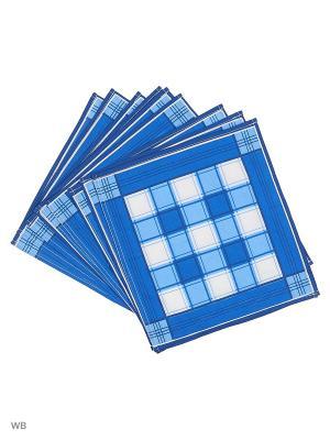 Набор платков носовых мужских Римейн. Цвет: синий, белый, голубой