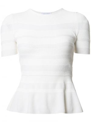 Striped ruffle knit top Narciso Rodriguez. Цвет: белый