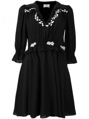 Платье с оборками и вышивкой Giamba. Цвет: чёрный