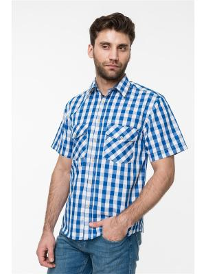 Рубашка Westrenger. Цвет: синий, белый