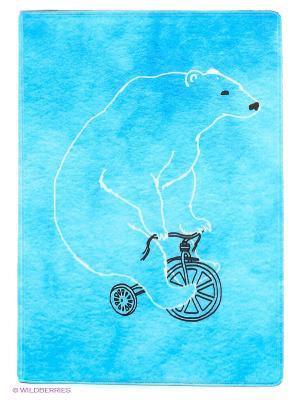 Обложка для паспорта Мишка на велосипеде Mitya Veselkov. Цвет: голубой