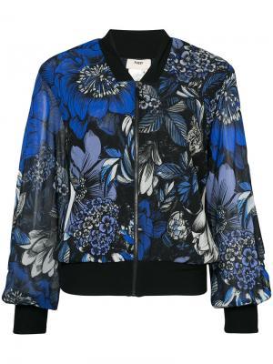 Куртка-бомбер с цветочным принтом Fuzzi. Цвет: синий