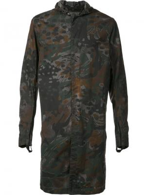 Удлиненная рубашка с капюшоном 11 By Boris Bidjan Saberi. Цвет: зелёный