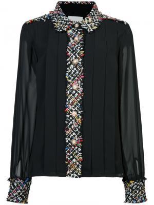 Рубашка с твидовой окантовкой Edward Achour Paris. Цвет: чёрный