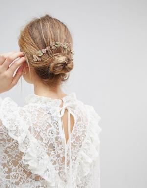 ASOS Металлическая заколка для волос с цветочной отделкой пастельных тонов. Цвет: мульти