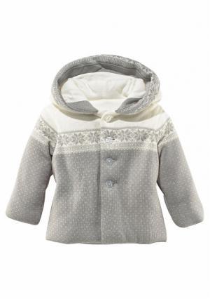 Трикотажная куртка KLITZEKLEIN. Цвет: светло-серый/молочно-белый