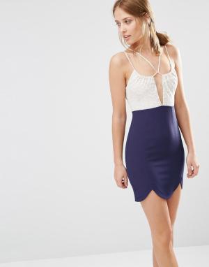 Ginger Fizz Платье мини 2 в 1 с круженым лифом. Цвет: темно-синий