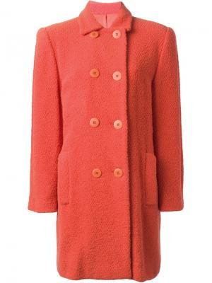 Двубортное пальто Stephen Sprouse Vintage. Цвет: жёлтый и оранжевый