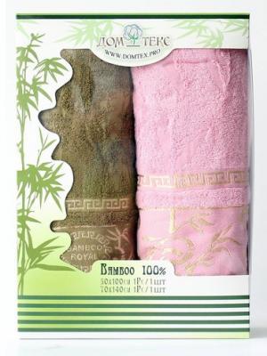 Набор махровых полотенец бамбук Домтекс. Цвет: оливковый, розовый