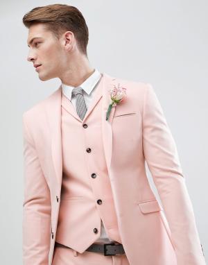 ASOS Светло-персиковый приталенный пиджак Wedding. Цвет: розовый