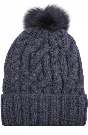 Шерстяная шапка с фактурным узором и меховым помпоном Eugenia Kim. Цвет: темно-синий
