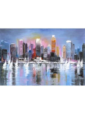 Картина пристань лодки день Ecoramka. Цвет: темно-синий, коричневый, светло-оранжевый