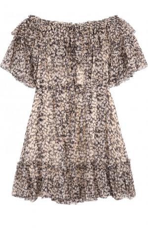 Шелковое мини-платье с принтом и поясом Zimmermann. Цвет: бежевый
