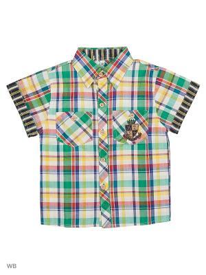 Рубашка Vienetta Kids. Цвет: синий, желтый, зеленый
