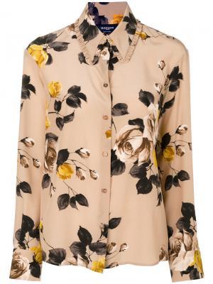 Блузка с принтом розами Rochas. Цвет: телесный