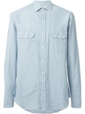 Рубашка с накладными карманами Salvatore Piccolo. Цвет: синий