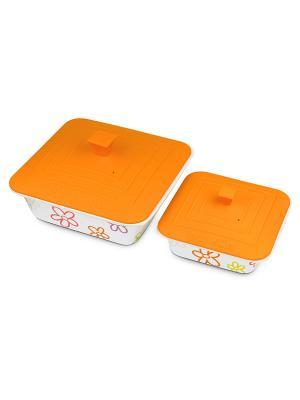 Набор из 2-х керамических квадратных форм OURSSON. Цвет: оранжевый